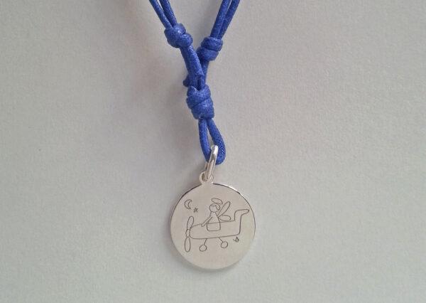 Collana cordino blu mare