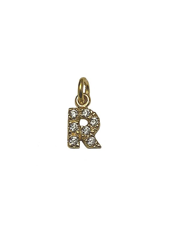 "LETTERINA ""R"" ZIRCONI GOLD"